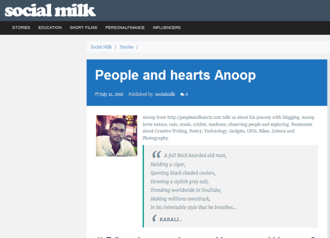 People and Hearts Anoop – Social Milk
